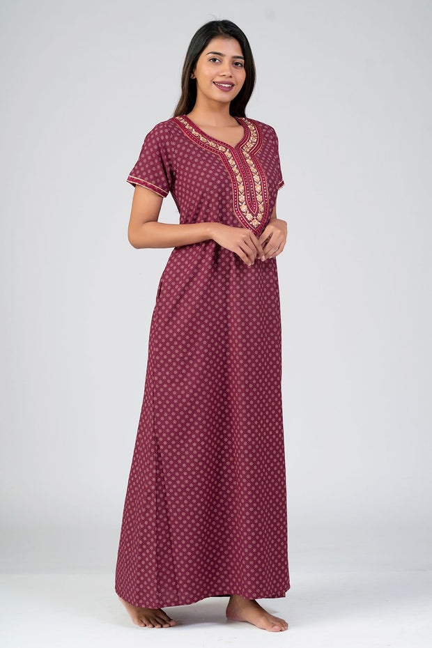 Maybell-All over Floral Printed & Yoke Embroidered Nightwear- Maroon