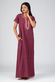 Maybell-All over Floral Printed & Yoke Embroidered Nightwear- Maroon3