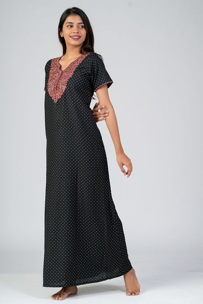 Maybell-All over polka dot Printed & Yoke Embroidered Nightwear- Black3