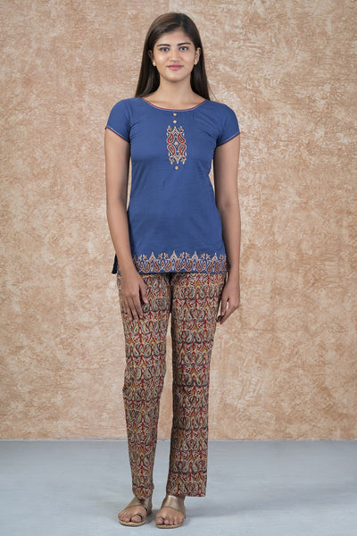 Classic Embroidered Top & Kalamkari Pyjama Set - Blue & Rust