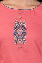 Classic Embroidered Top & Kalamkari Pyjama Set - Pink & Blue