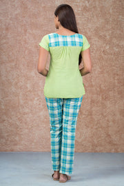 Embroidered Top & Checkered pyjama set - Green & Blue