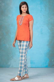 Embroidered Top & Checkered pyjama set - Orange & Blue