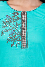 Pretty Bird Embroidered Top & Checked Pyjama Set - Turquoise & Black