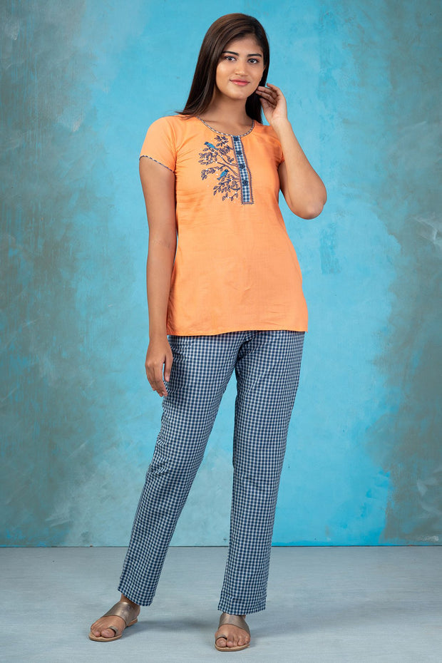 Pretty Bird Embroidered Top & Checked Pyjama Set - Orange & Blue