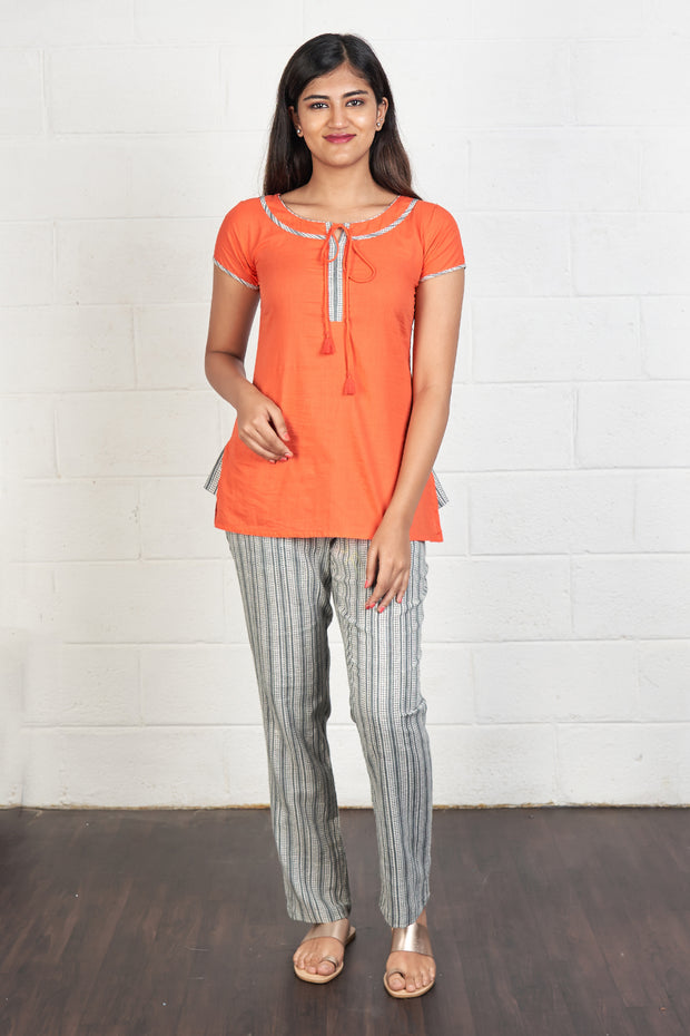 Minimal Detail Top & Striped Pyjama Set - Orange & Grey