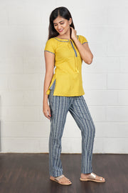 Minimal Detail Top & Striped Pyjama Set - Yellow & Grey