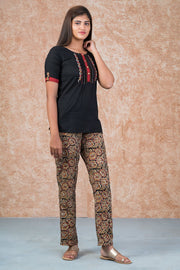 Minimal Embroidered Top & Kalamkari Pyjama Set - Black