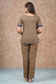 Minimal Embroidered Top & Kalamkari Pyjama Set - Brown