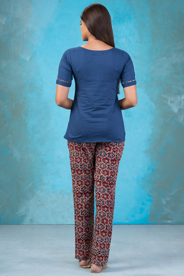 Abstract Floral Embroidered Top & Kalamkari Pyjama Set - Blue & Maroon