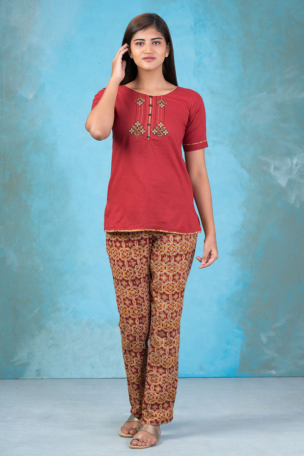 Abstract Floral Embroidered Top & Kalamkari Pyjama Set - Maroon & Mustard