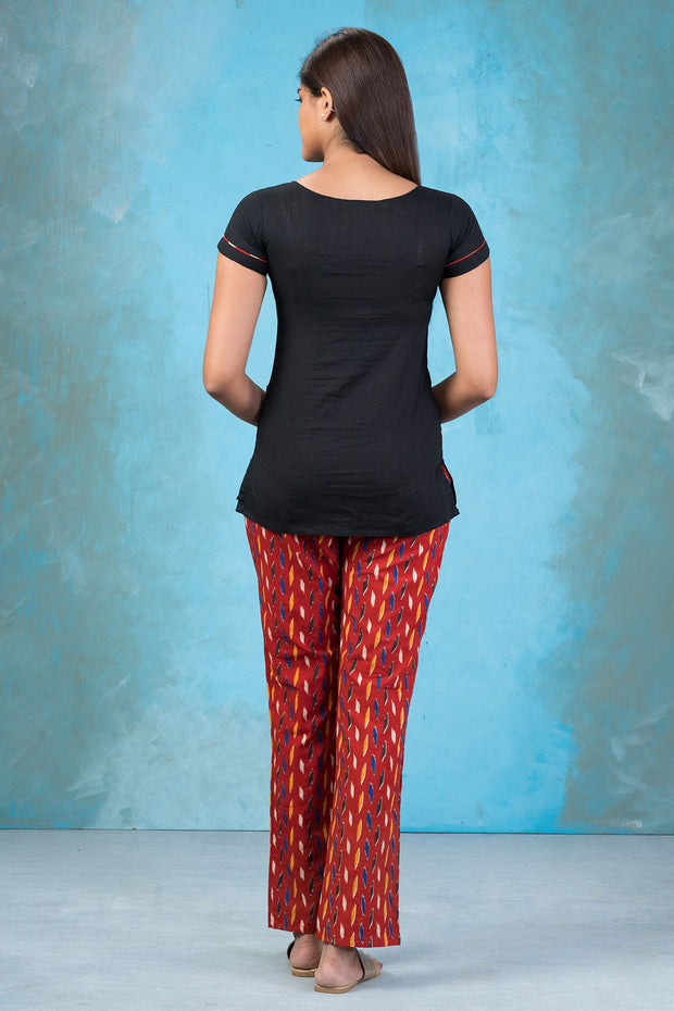 Contemporary Floral Embroidered Top & Ikkat Printed Pyjama Set - Black & Red