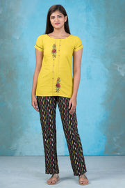 Contemporary Floral Embroidered Top & Ikkat Printed Pyjama Set - Yellow & Black