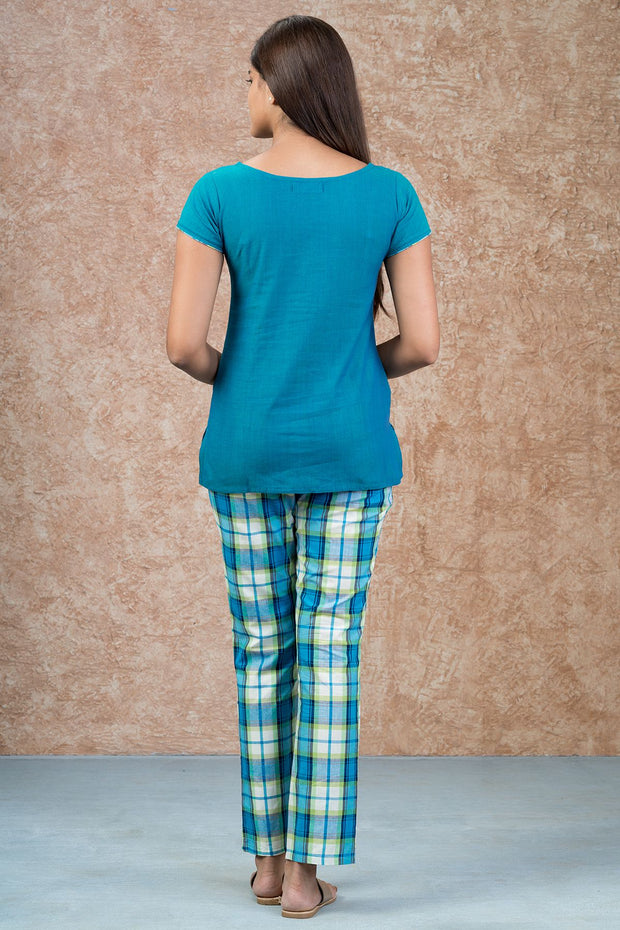 Chripy Embroidered Top & Checkered Pyjama Set - Blue