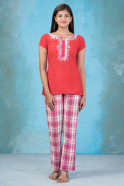 Chripy Embroidered Top & Checkered Pyjama Set - Red