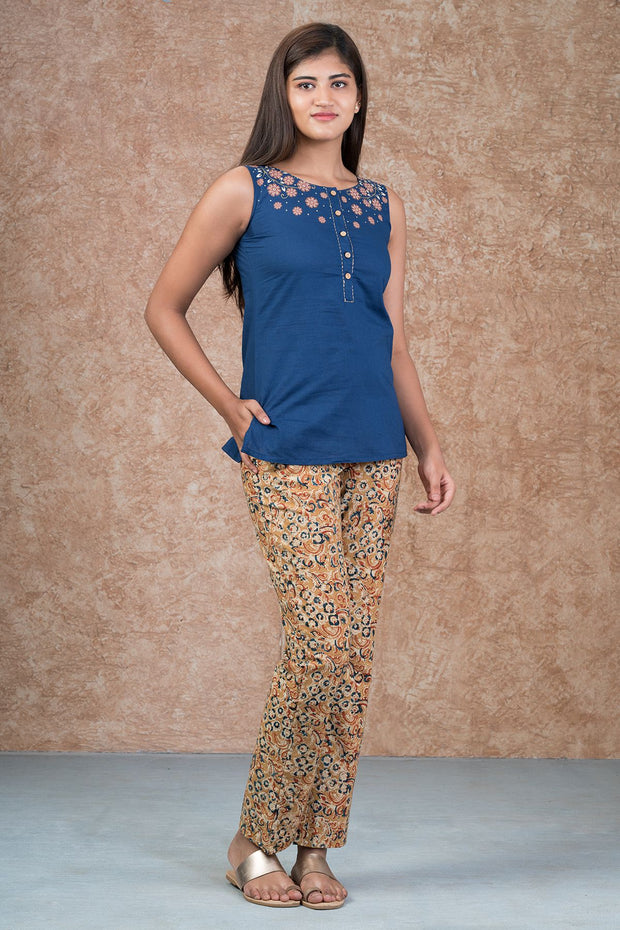 Placement Floral Printed Top & Kalamkari Pyjama Set - Blue & Mustard