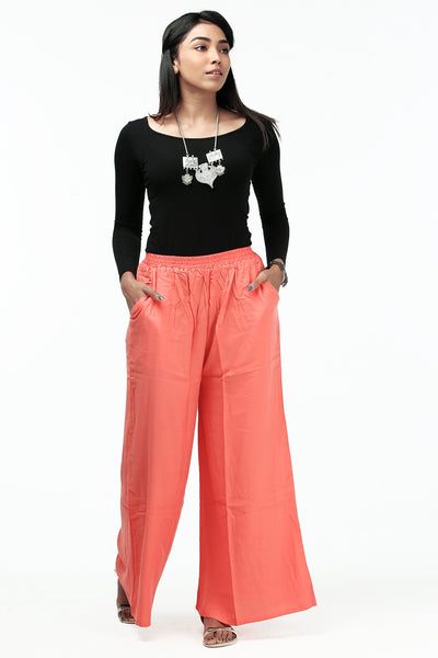 Comfy Solid Palazzo - Peach - Maybell Womens Fashion