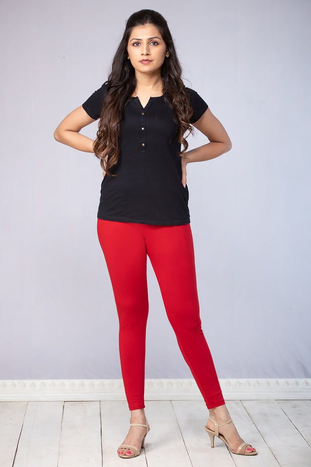 Solid Cotton Leggings - Red - Maybell Womens Fashion