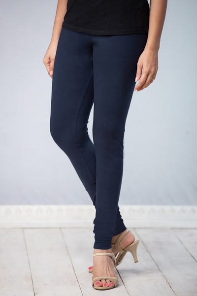 Solid Cotton Leggings - Navy Blue - Maybell Womens Fashion