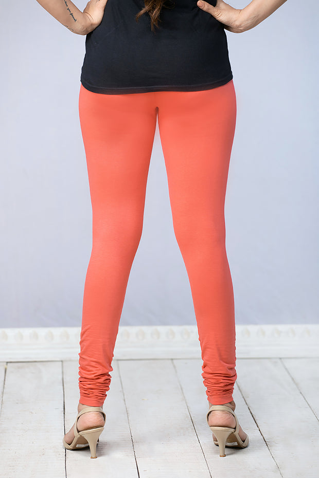 Solid Cotton Leggings - Peach - Maybell Womens Fashion