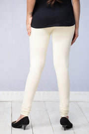 Solid Cotton Leggings - Off White - Maybell Womens Fashion
