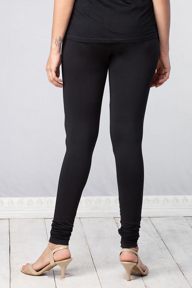 Solid Cotton Leggings - Black - Maybell Womens Fashion