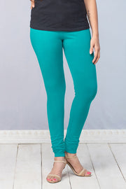 Solid Cotton Leggings - Turquoise - Maybell Womens Fashion