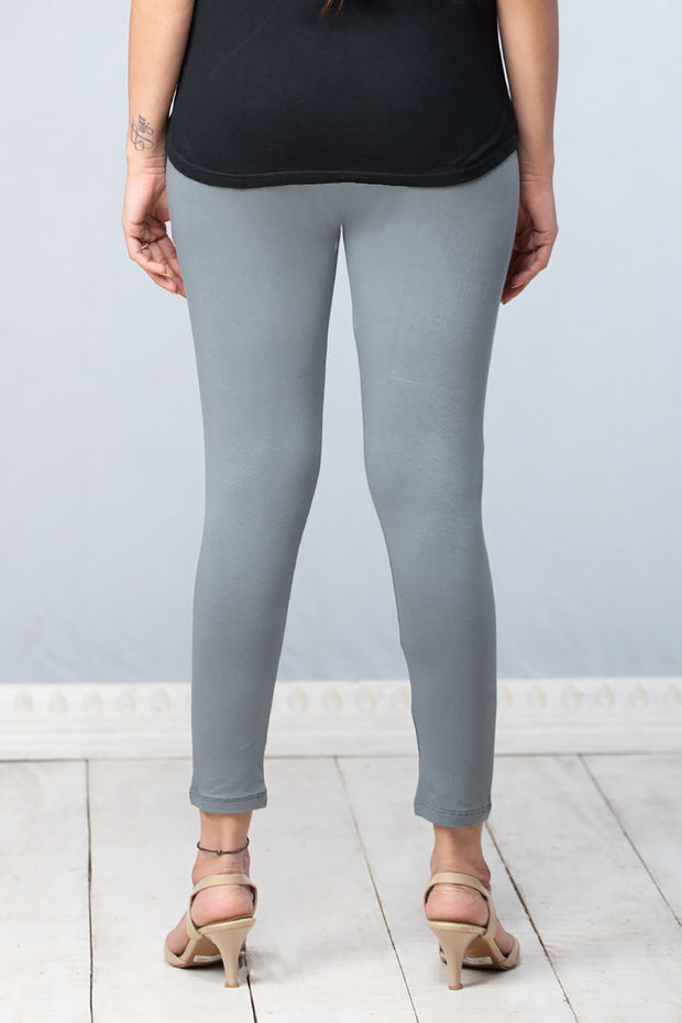 Solid Cotton Leggings - Grey - Maybell Womens Fashion
