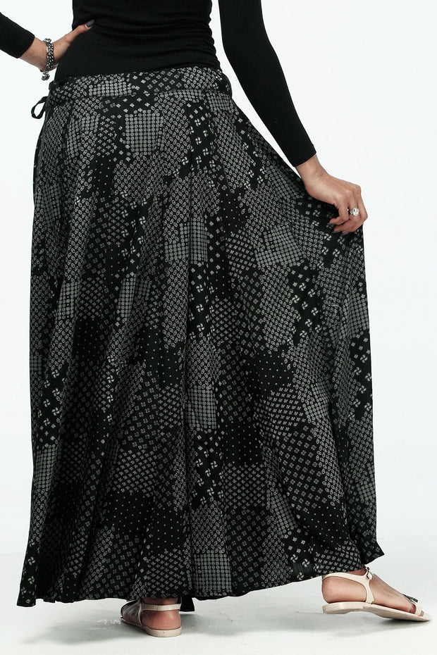 Ethnic Printed Skirt - Grey - Maybell Womens Fashion