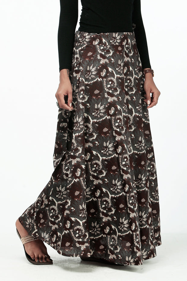 Elegant Printed Skirt - Brown - Maybell Womens Fashion