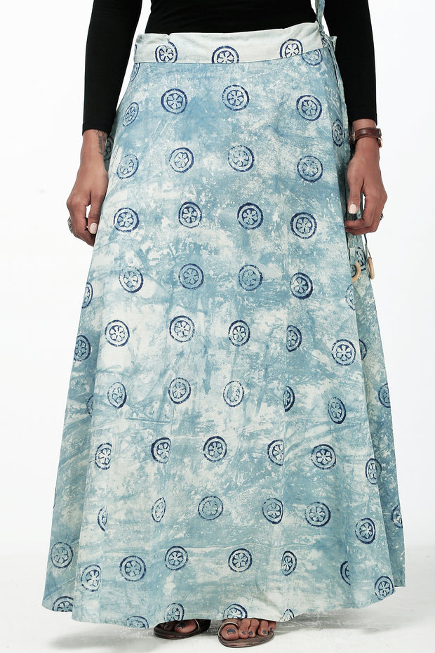 Elegant Printed Skirt - Indigo - Maybell Womens Fashion
