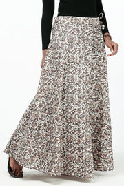 Elegant Printed Skirt - Khaki - Maybell Womens Fashion