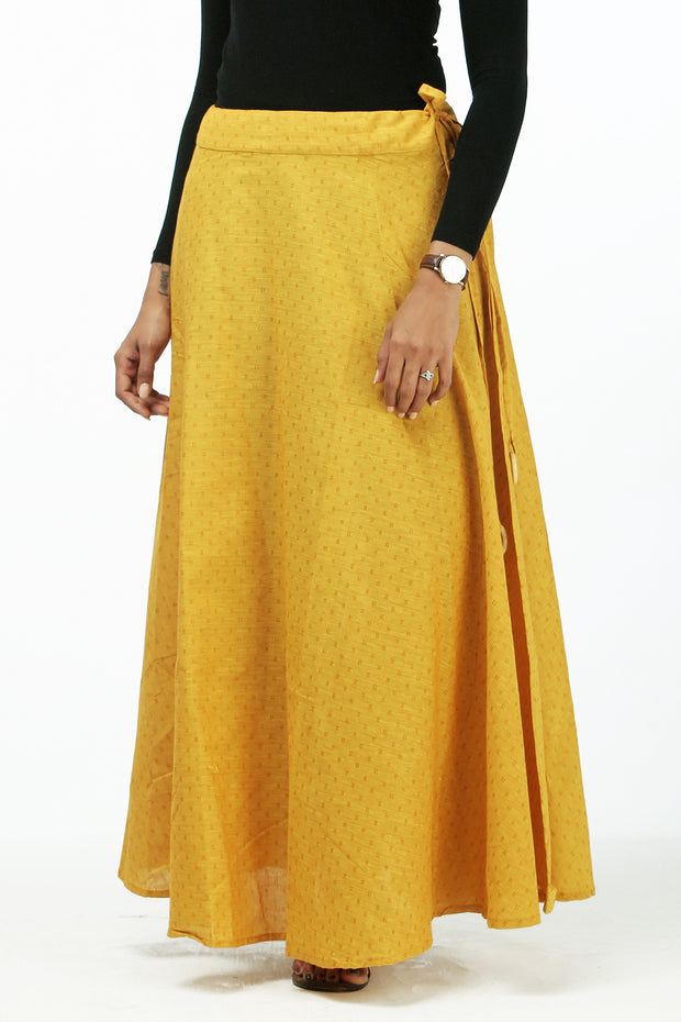 Elegant Printed Skirt - Mustard - Maybell Womens Fashion