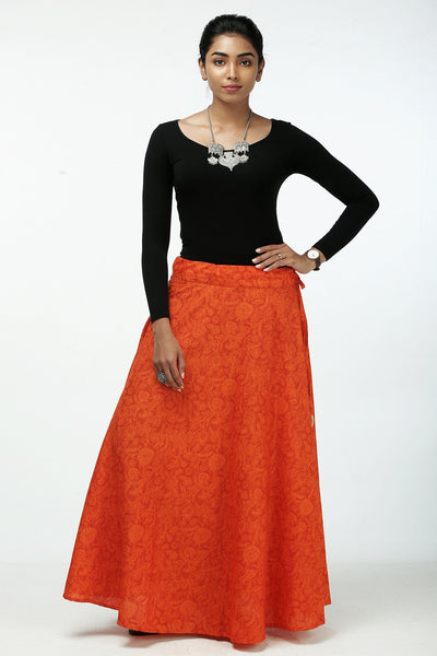 Elegant Printed Skirt - Orange - Maybell Womens Fashion