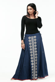 Elegant Printed Skirt - Navy - Maybell Womens Fashion