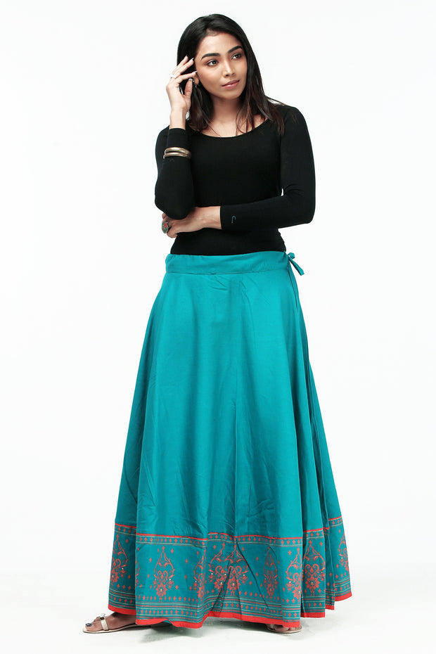 Ethnic Printed Skirt - Green - Maybell Womens Fashion