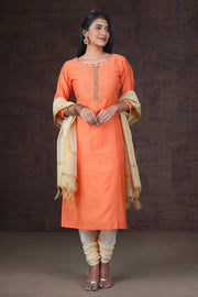 Minimal Embroidered Kurta Set - Orange & Cream