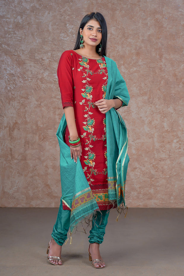 Placement Printed Kurta & Dupatta Set - Red & Green