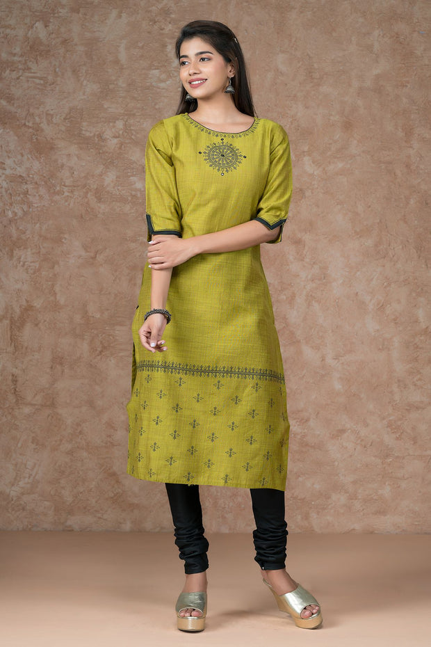 Mandala Printed Kurta  Golden Leaf Dupatta & Bottom Set
