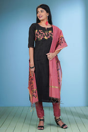 Placement Printed Kurta & Dupatta Set - Black & Pink