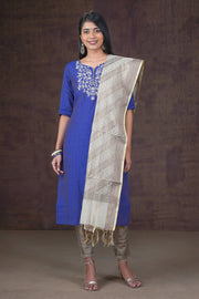 Beautiful Yoke Printed Kurta & Brocade Dupatta Set - Navy & Grey