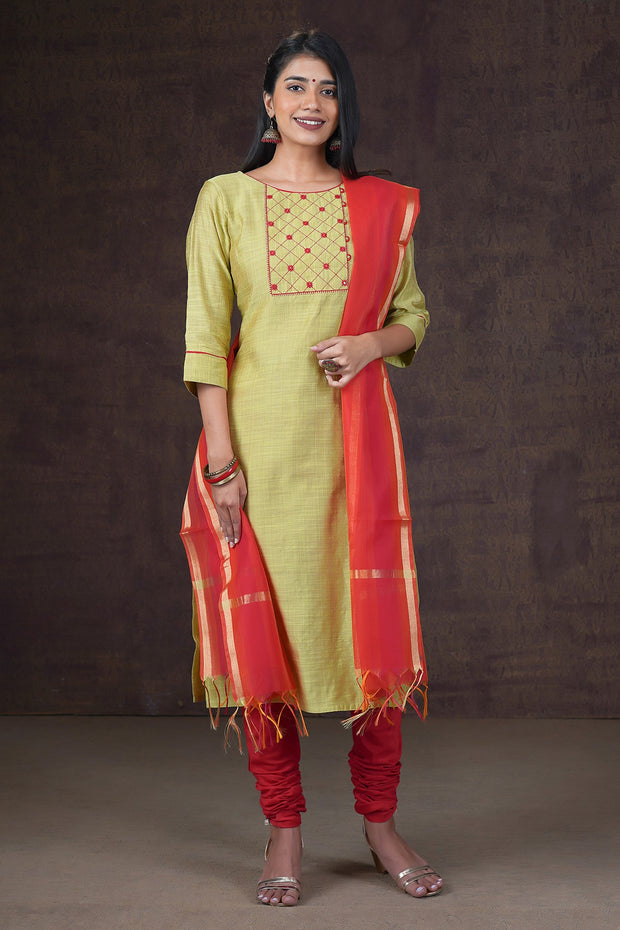 Minimal Embroidered Kurta & Ombre Dupatta Set - Beige & Red