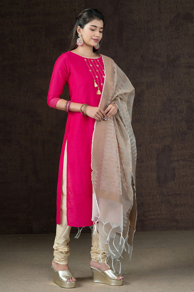 Minimal Embroidered Kurta, Bottom & Brocade Dupatta Set - Pink