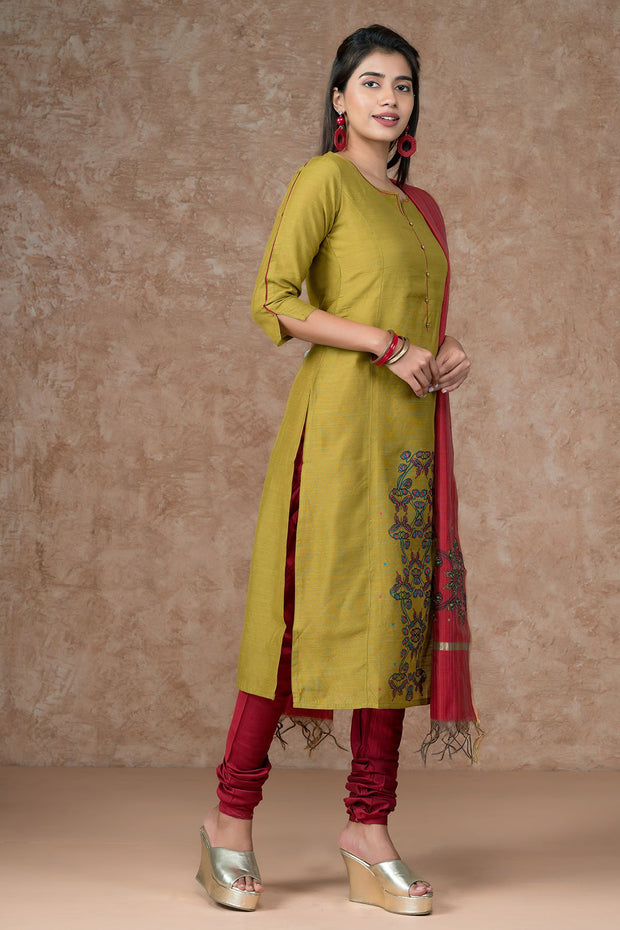 Contemporary Butterfly Printed Kurta, Bottom & Printed Dupatta Set