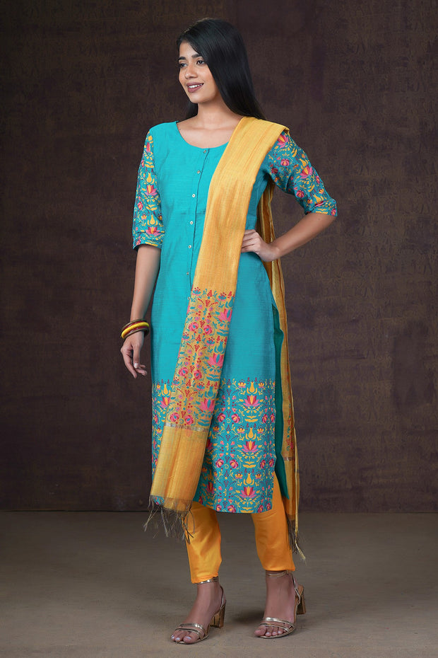 Garden Floral Placement Printed Kurta & Dupatta Set - Blue & Yellow