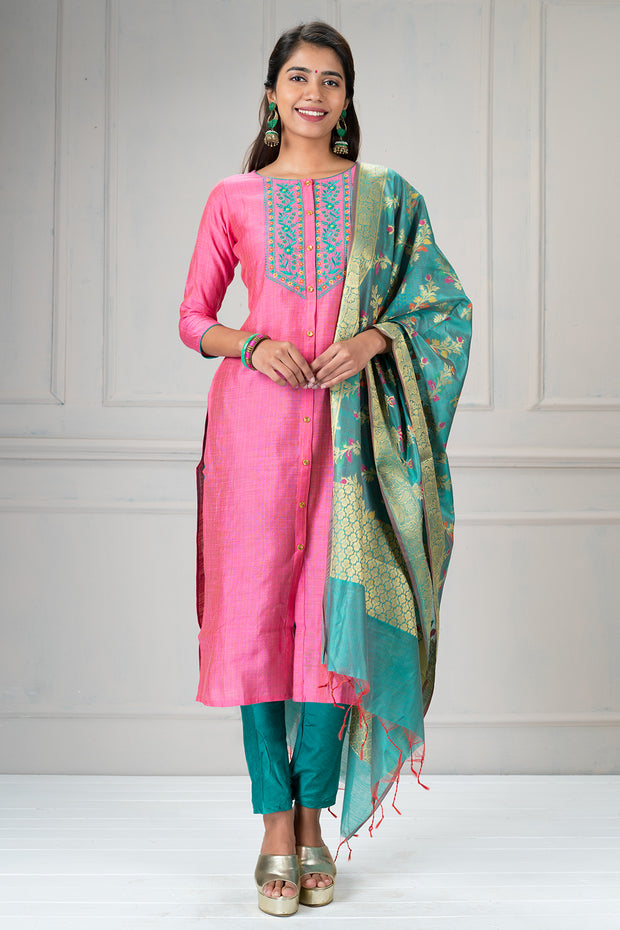 Beautiful botanical floral embroidered  kurta and dupatta set -Pink and green.