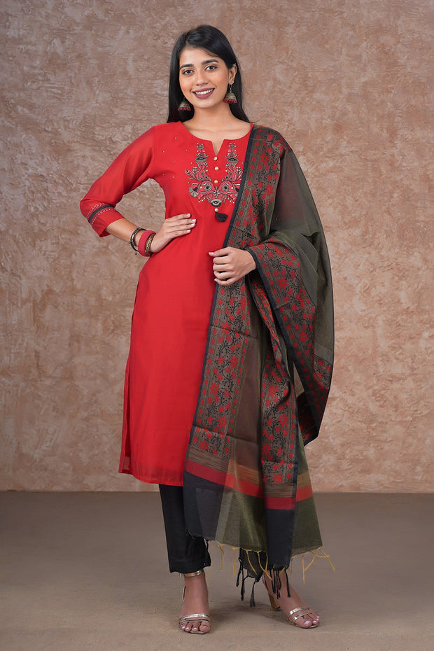 Floral Embroidered Kurta & Printed Dupatta Set