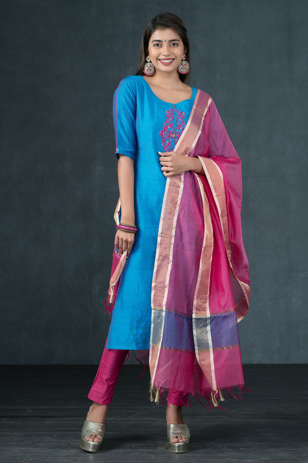 Ethnic Motif Embroidered Kurta & Dupatta Set - Blue & Pink