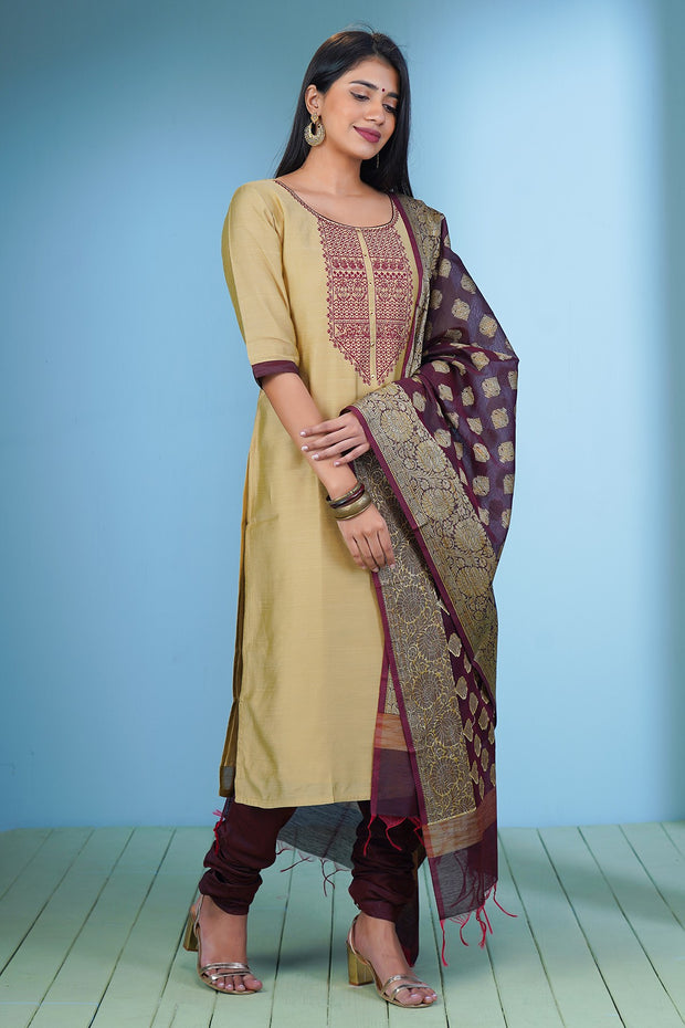 Intricate Embroidered Kurta & Brocade Dupatta Set - Beige & Maroon