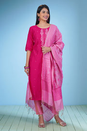 Elegant Embroidered Kurta & Dupatta Set - Pink